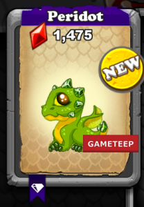 DragonVale Peridot Dragon August Baby