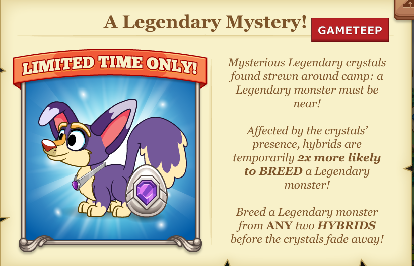 Tiny Monsters: 2X Legendary Breeding Chance!