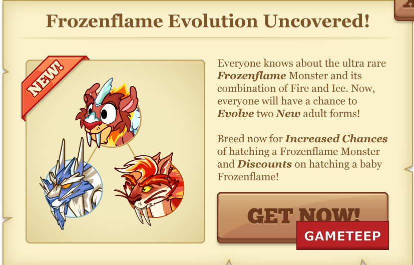 Tiny Monsters Frozenflame evolution screen