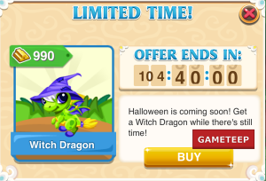 Dragon Story Witch Dragon, Limited Time to Breed