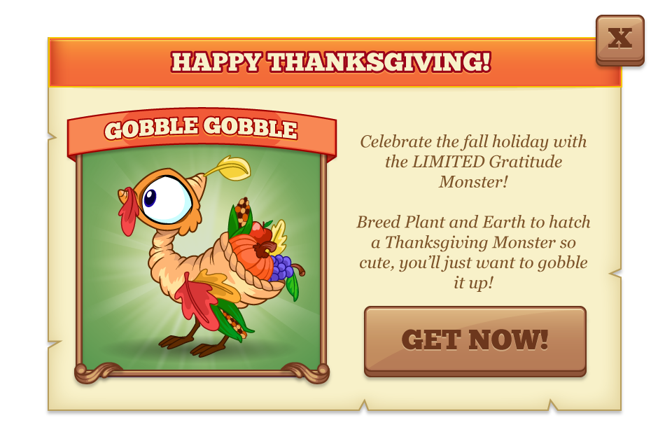 Tiny Monsters How to breed Gratitude Thanksgiving Monster