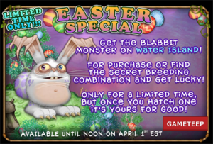 "to ""My Singing Monsters: Easter Update, Blabbit Monster Limited"