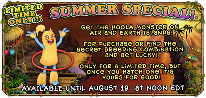 My Singing Monsters Hoola Monster Inline Banner