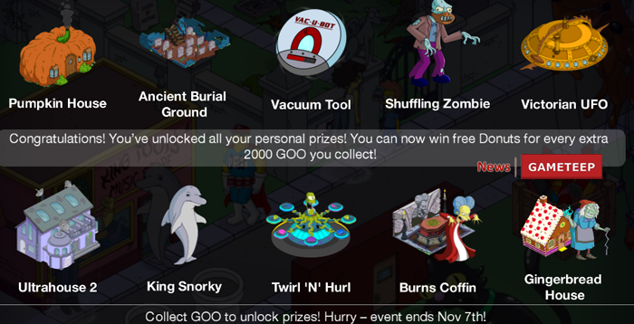 The Simpsons Tapped Out HALLOWEEN PERSONAL PRIZE LIST