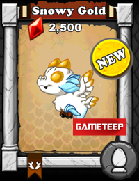 DragonVale Snowy Gold Dragon
