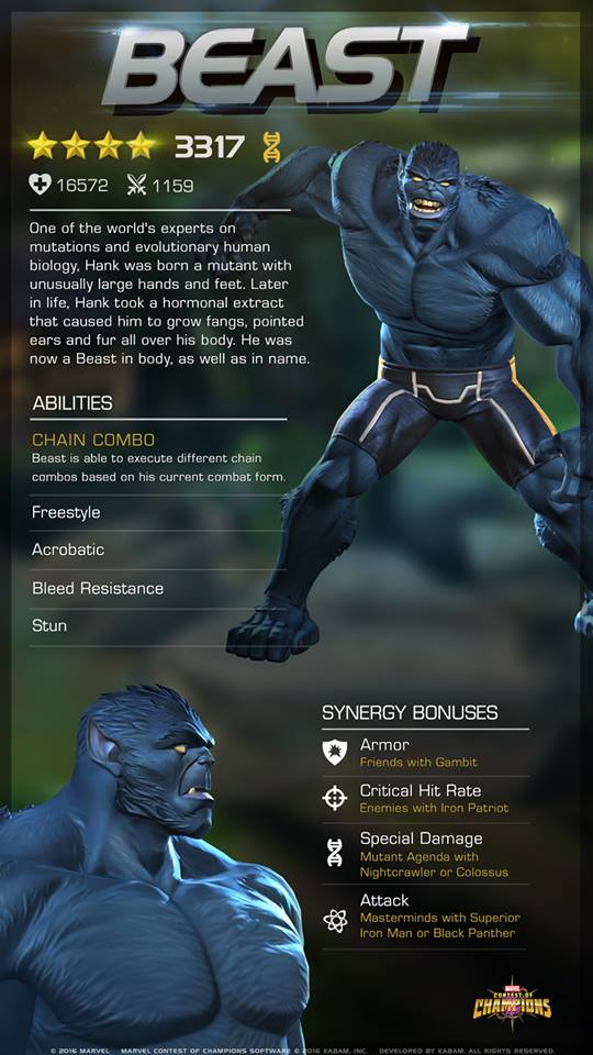 Marvel Contest of Champions Blue Beast
